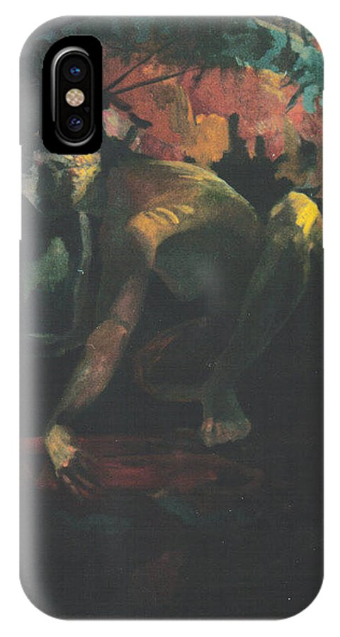 Figure IPhone X / XS Case featuring the painting The Hot Tub by John L Campbell