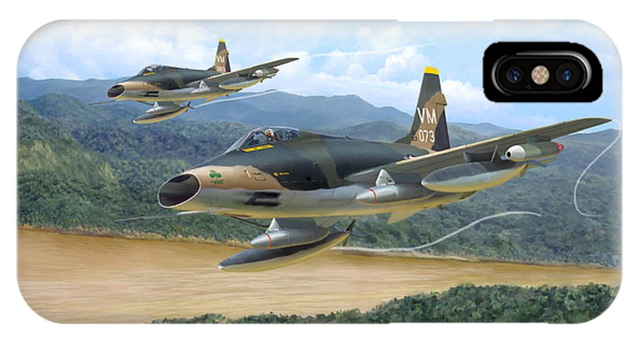 Aviation IPhone Case featuring the painting The Hun - F-100 Super Sabres In Vietnam by Mark Karvon