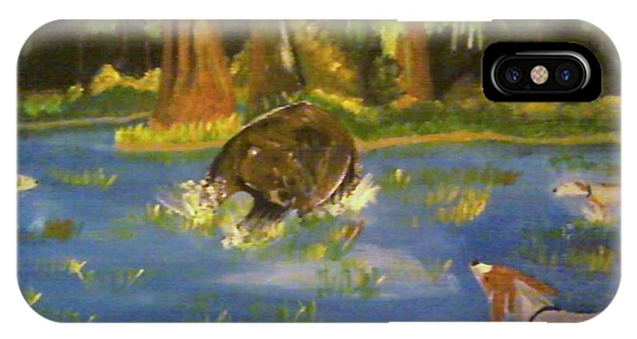 Dogs IPhone X Case featuring the painting The Hunting Of The Bear by Dominic Whatley