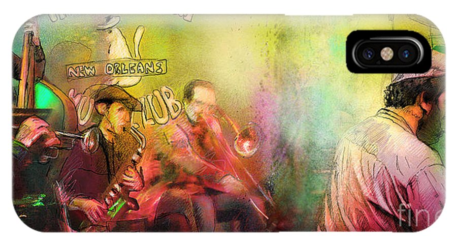 Music IPhone X Case featuring the painting The Jazz Vipers In New Orleans 03 by Miki De Goodaboom