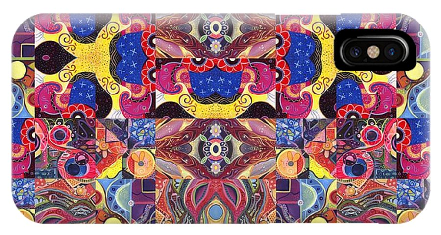 Abstract IPhone X Case featuring the painting The Joy Of Design Mandala Series Puzzle 3 Arrangement 6 by Helena Tiainen