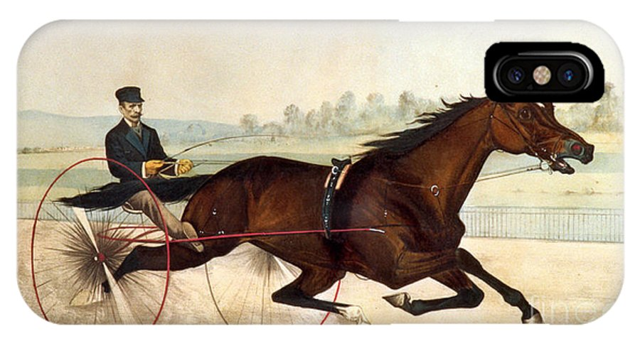 Currier And Ives IPhone X Case featuring the painting The King Of The Turf by Currier And Ives