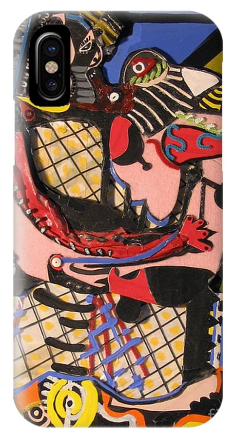 Abstract IPhone X Case featuring the mixed media The Kiss Aka The Embrace After Picasso 1925 by Mack Galixtar