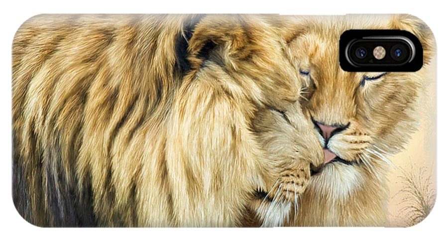 Lion IPhone X Case featuring the mixed media The Kiss by Carol Cavalaris
