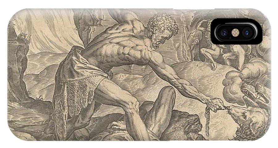 IPhone X Case featuring the drawing The Labours Of Hercuiles -3-capturing Cerebus 1563 by CORT after FLORIS