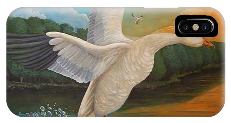 Rick Huotari IPhone X Case featuring the painting The Landing by Rick Huotari