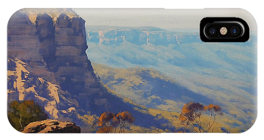 IPhone X Case featuring the painting The Landslide Katoomba by Graham Gercken