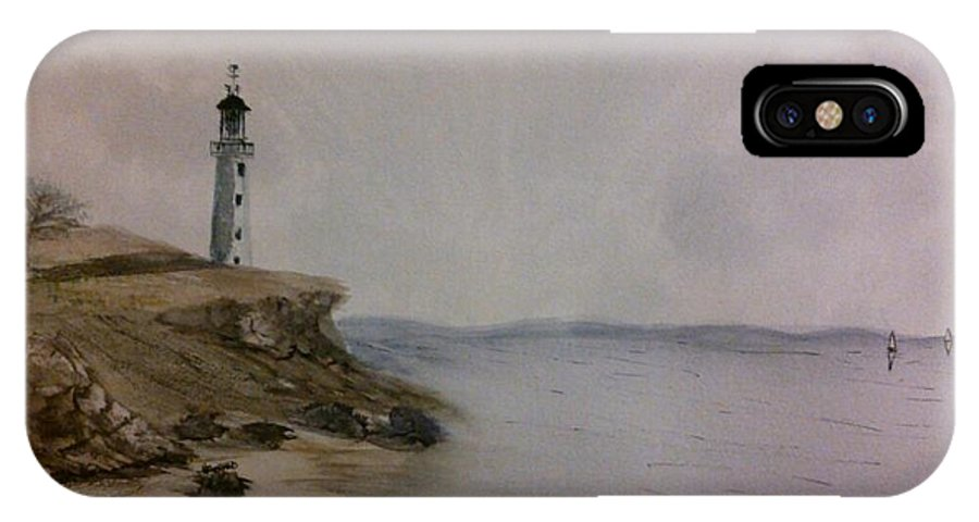 Seascape IPhone X / XS Case featuring the painting The Lighthouse Sentry by Van Harrald