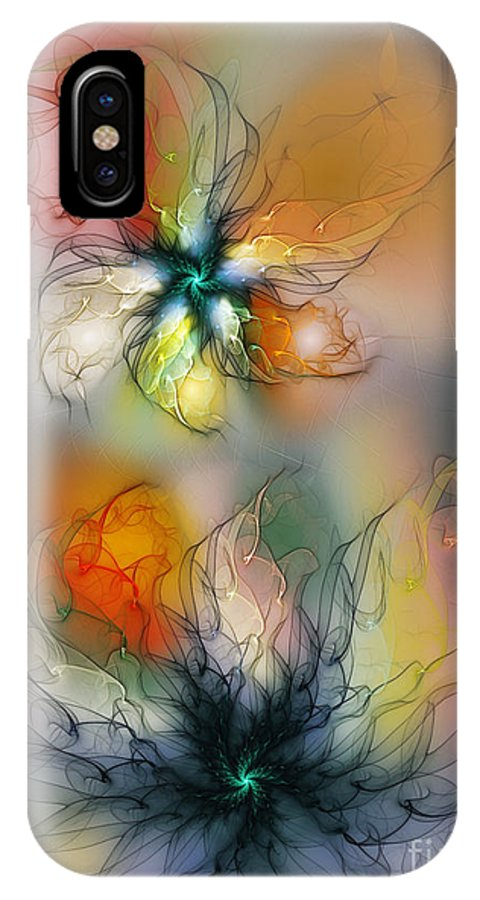 Abstract IPhone X Case featuring the digital art The Lightness Of Being-abstract Art by Karin Kuhlmann