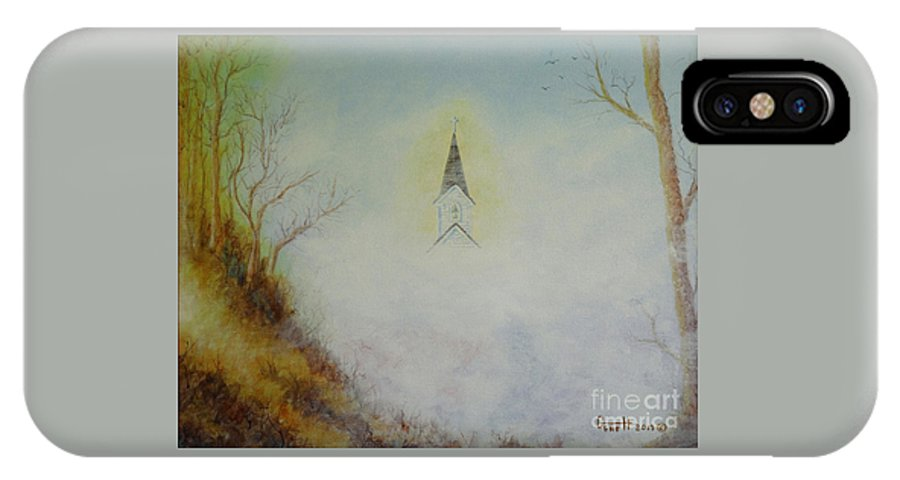 Church IPhone X Case featuring the painting The Little Chapel In The Valley by Gene Huebner