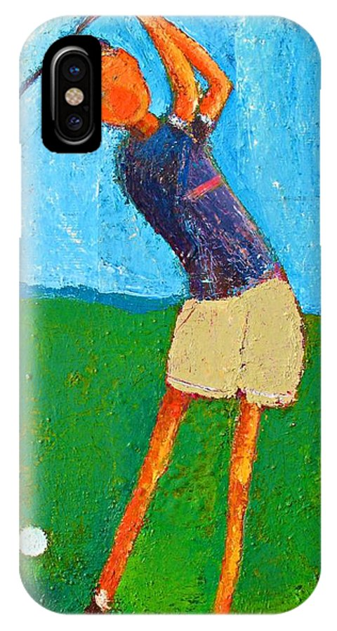 Abstract IPhone X Case featuring the painting The Little Golfer by Habib Ayat