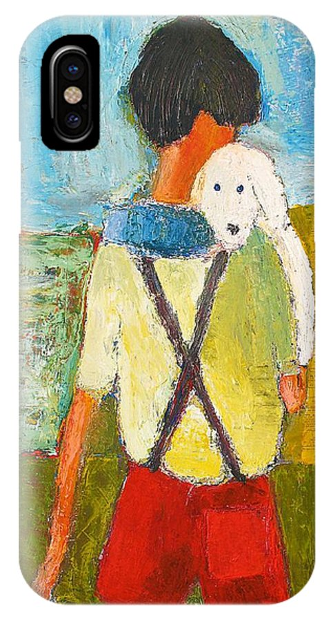 Abstract IPhone X Case featuring the painting The Little Puppy by Habib Ayat