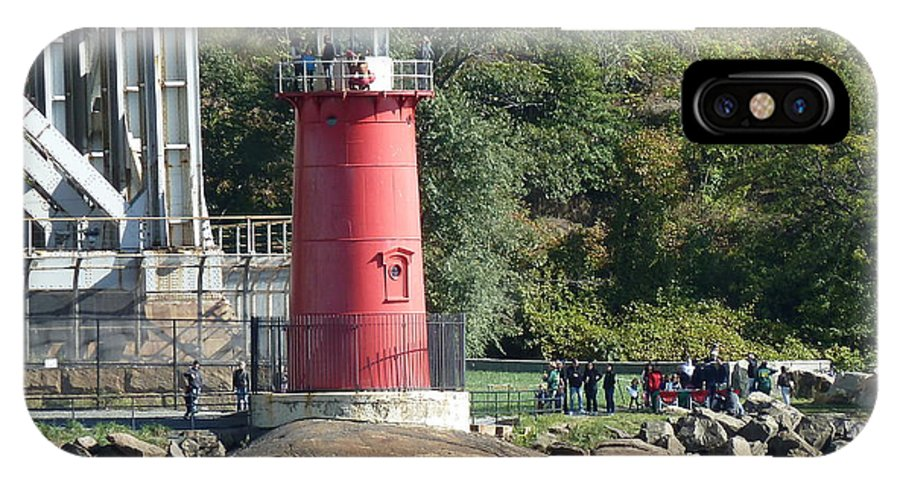 New York City IPhone X Case featuring the photograph The Little Red Lighthouse by Cecelia Helwig