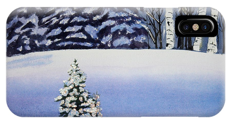 Christmas IPhone X / XS Case featuring the painting The Lone Christmas Tree by Patricia Novack