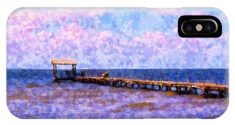 Landscape IPhone X Case featuring the mixed media The Long Walk by Florene Welebny