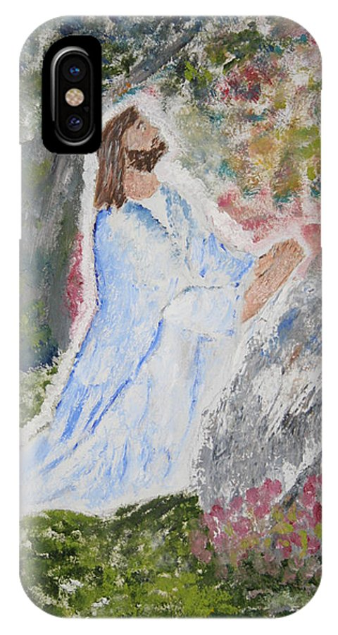 Jesus Praying. Colorful Background. IPhone X Case featuring the painting The Lord's Prayer by Kerri Mahan