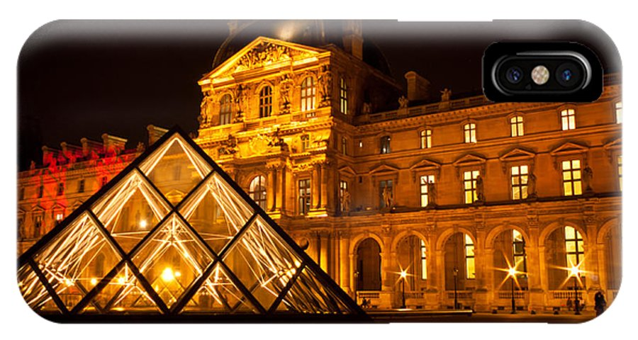 Louvre IPhone X Case featuring the photograph The Louvre At Night by Anthony Doudt