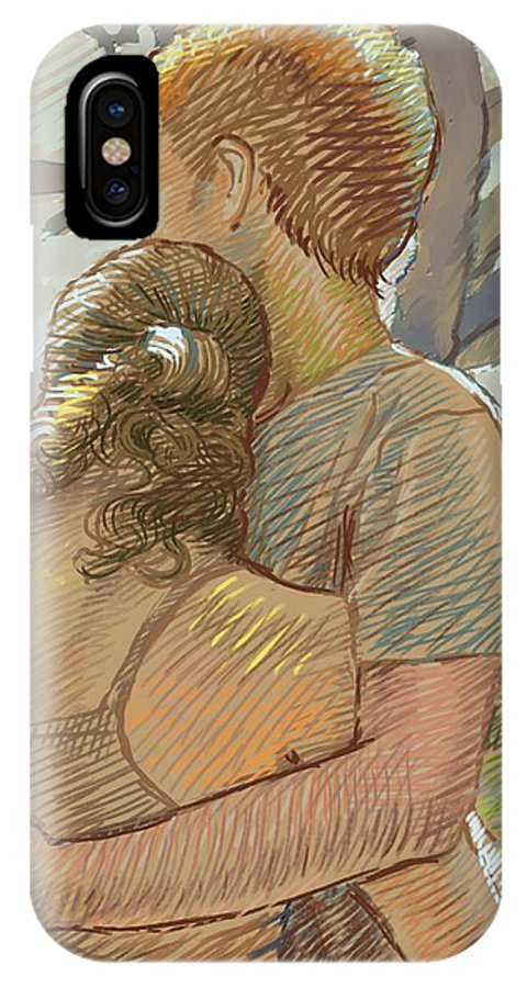 Love IPhone X Case featuring the drawing The Lovers by Dominique Amendola