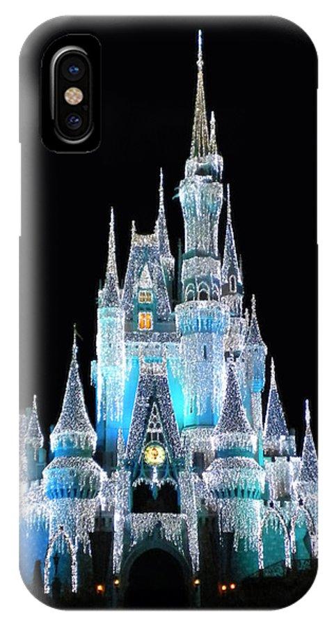 quality design 7f016 0b3cf The Magic Kingdom Castle In Frosty Light Blue Walt Disney World IPhone X  Case