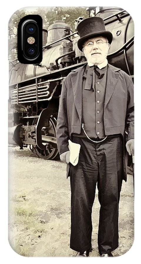 Train Gentleman Tophat Steam Antique Portrait IPhone X Case featuring the photograph The Man In The Tophat by Alice Gipson
