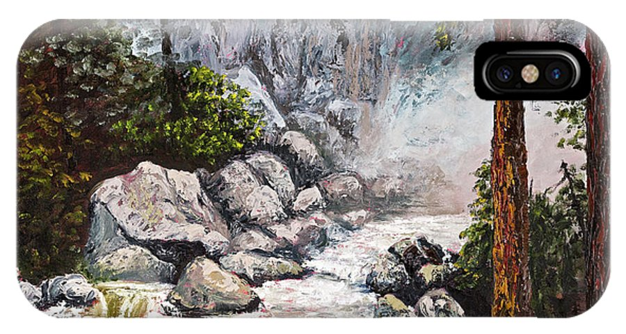 Landscape IPhone Case featuring the painting The Mist At Bridalveil Falls by Darice Machel McGuire