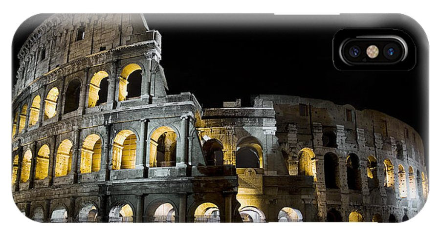 Colosseum IPhone X Case featuring the photograph The Moon Above The Colosseum No1 by Weston Westmoreland
