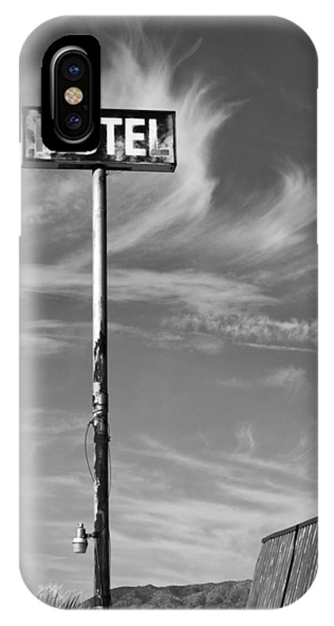 Dhs IPhone X Case featuring the photograph The Motel Bw Palm Springs by William Dey