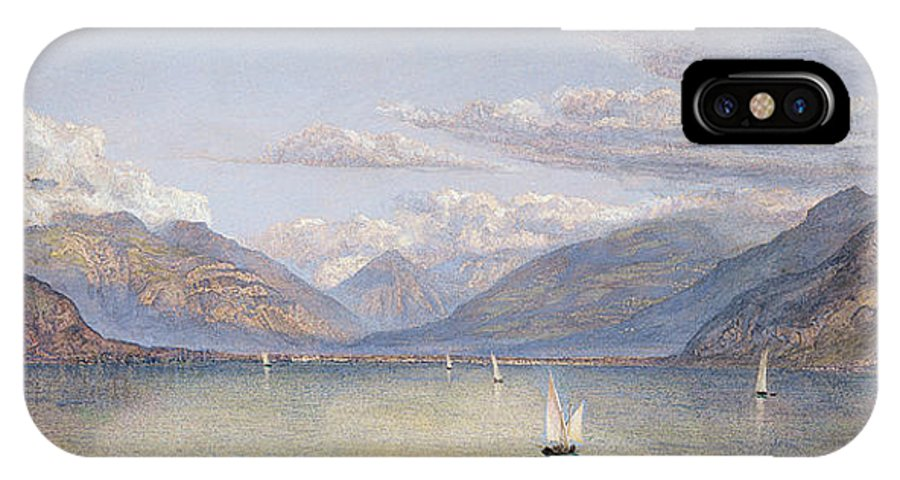 The IPhone X / XS Case featuring the painting The Mountains Of St Gingolph by John Brett