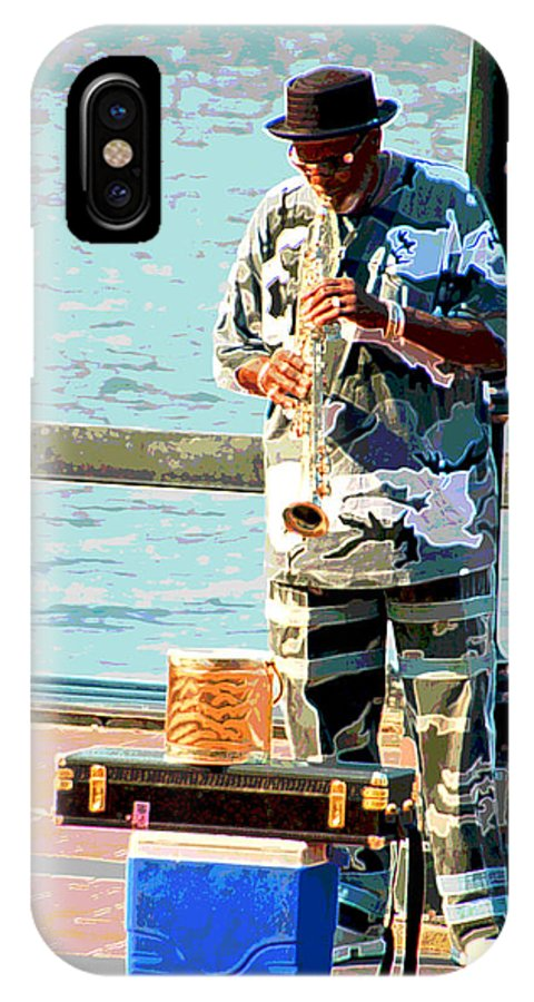 Soprano Saxophone IPhone X Case featuring the photograph The Music Man by Suzanne Gaff
