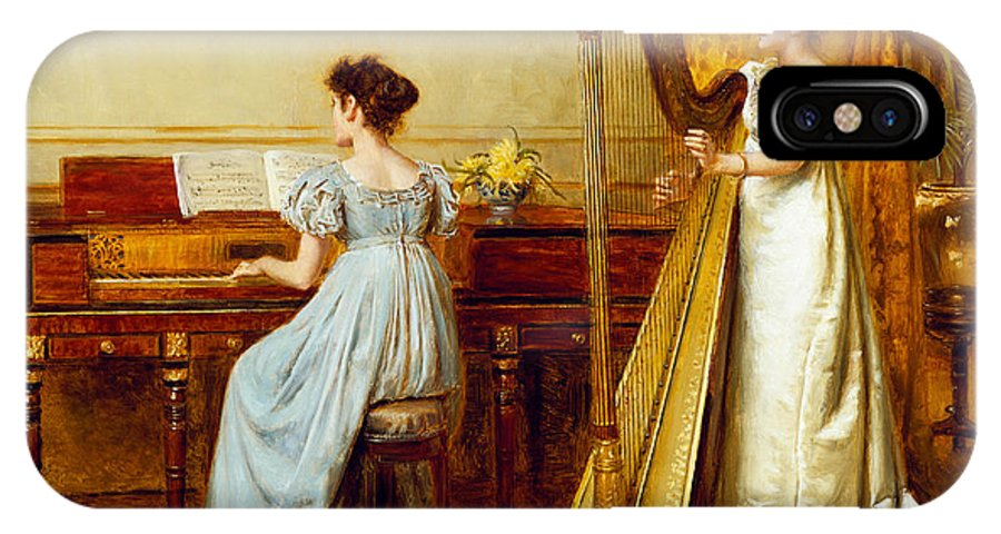 Music; Room; Interior; Female; Musician; Musicians; 19th; 20th; Harp; Harpist; Piano; Pianist; Musical Instrument; Instruments; Recital; Playing; Performing IPhone X Case featuring the painting The Music Room by George Goodwin Kilburne