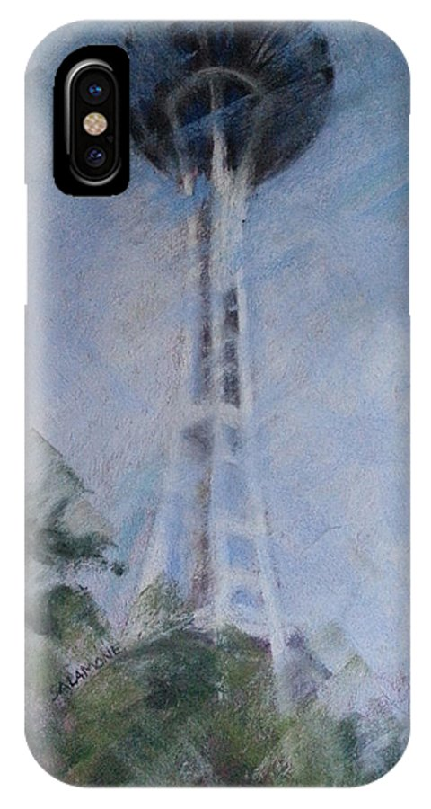 Seattle IPhone X Case featuring the pastel The Needle by Brenda Salamone