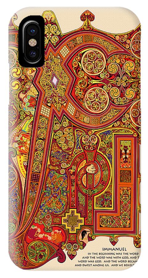 Book Of Kells IPhone X Case featuring the digital art The New Chi Rho by Martin Brockhaus