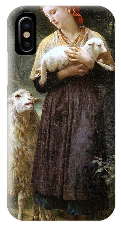 The Newborn Lamb IPhone X Case featuring the digital art The Newborn Lamb by William Bouguereau
