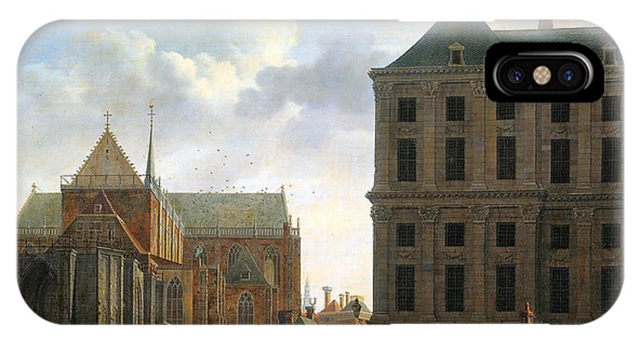 The Nieuwe Kerk And The Rear Of The Town Hall In Amsterdam IPhone X Case featuring the digital art The Nieuwe Kerk And The Rear Of The Town Hall In Amsterdam by Isaak Ouwater