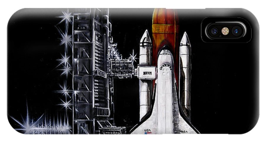 Shuttle IPhone X Case featuring the painting The Night Before by Murphy Elliott