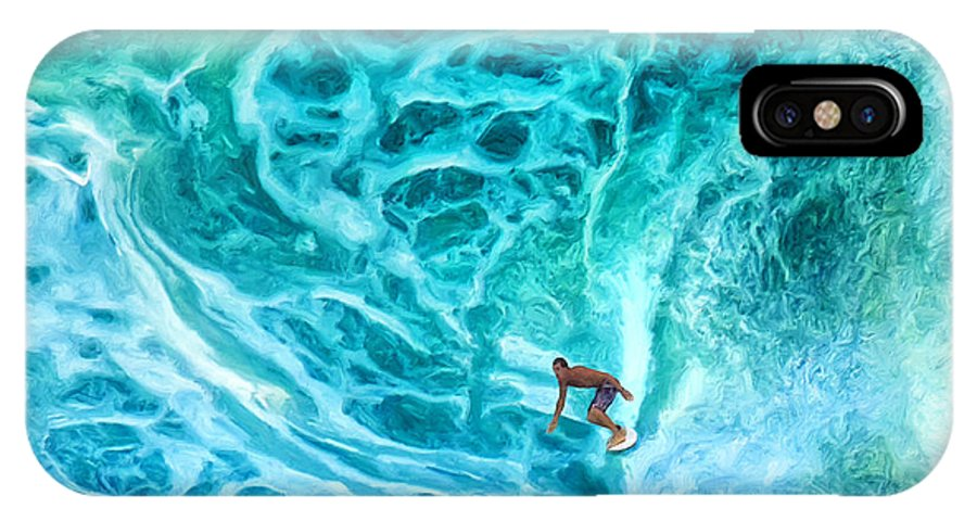 Surfer IPhone X Case featuring the painting The North Shore Optimist by Dominic Piperata