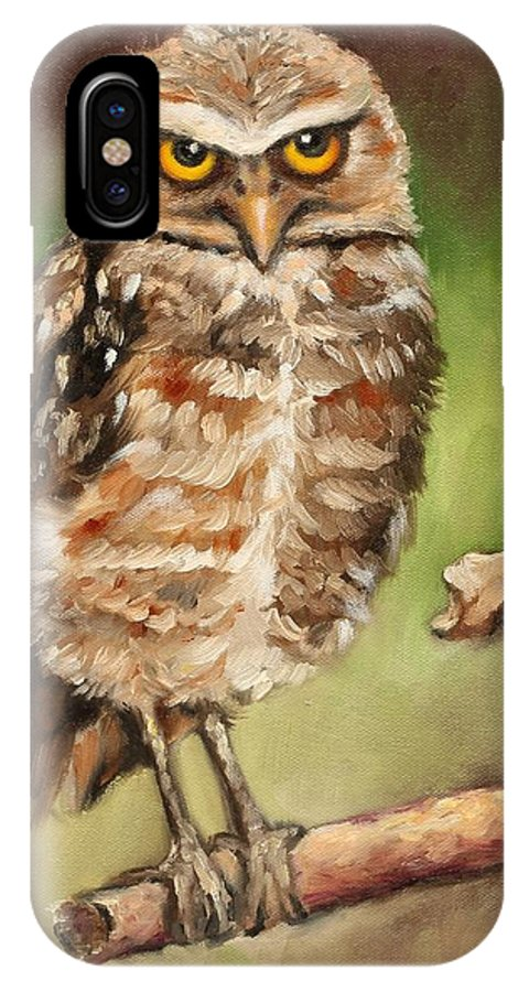 Burrowing Owl IPhone Case featuring the painting The Observer by Eve Wheeler