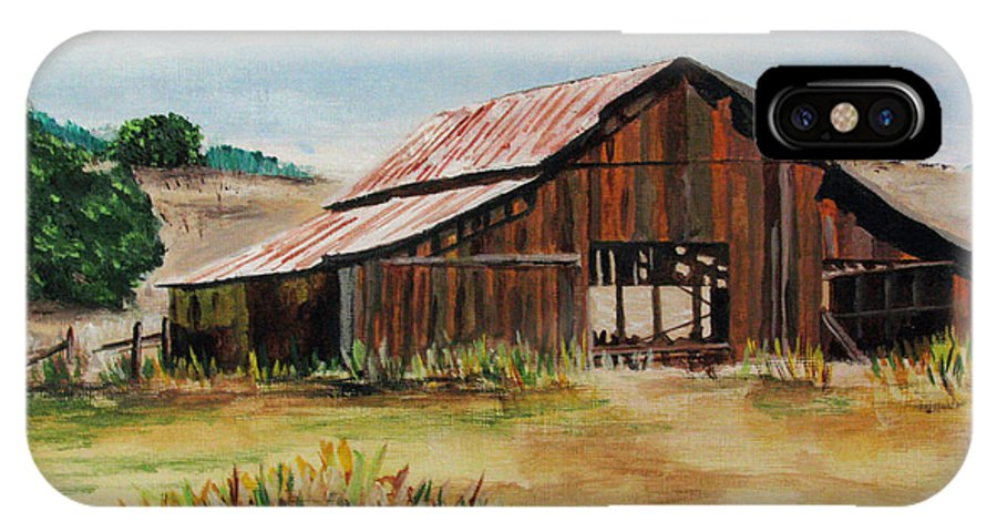 Landscape IPhone X Case featuring the painting The Old Barn by Nancie Johnson