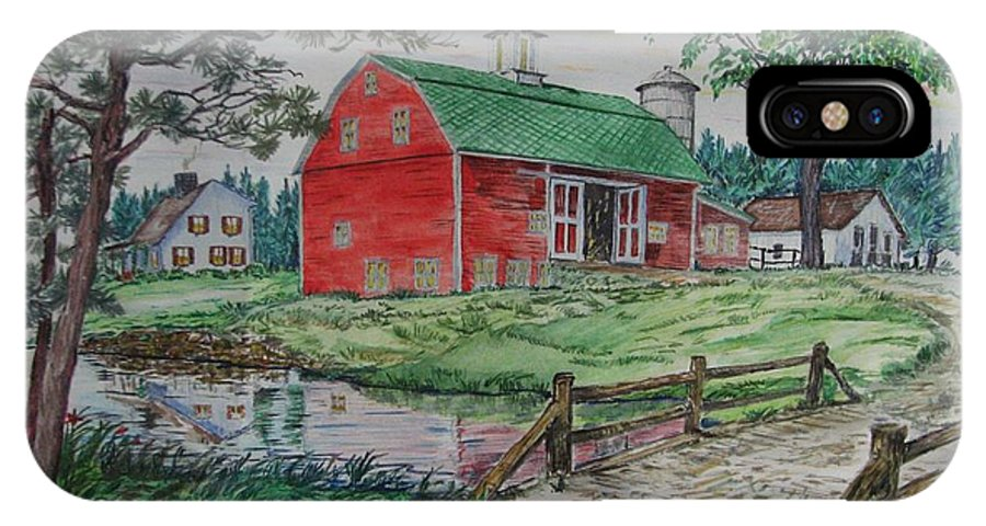 Farm IPhone X / XS Case featuring the painting The Old Family Farm by Michael Race