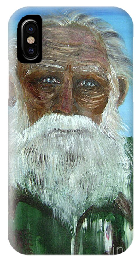 Sea Paintings IPhone X Case featuring the painting The Old Fisherman by Roni Ruth Palmer