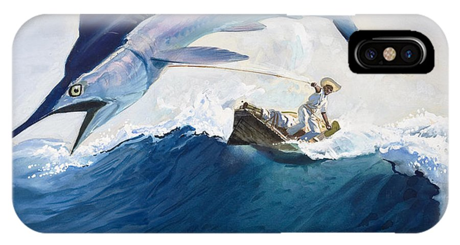 The IPhone X Case featuring the painting The Old Man And The Sea by Harry G Seabright
