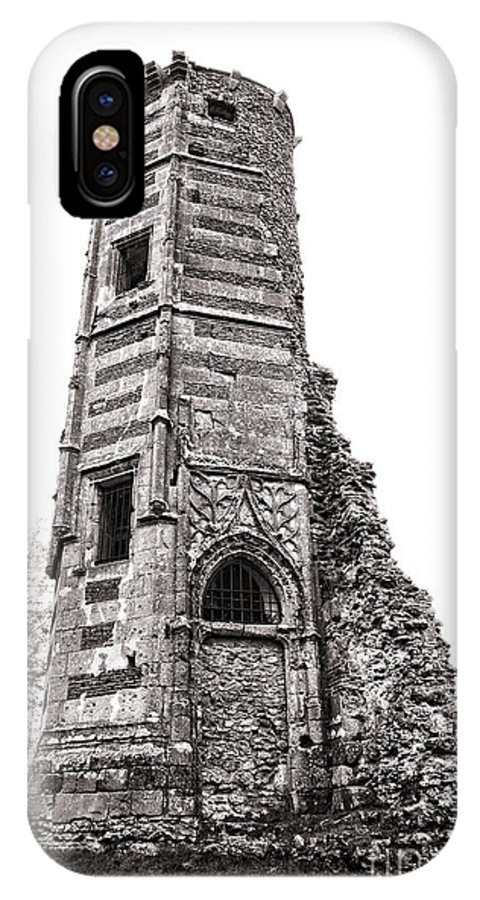 Aged IPhone X Case featuring the photograph The Old Tower by Olivier Le Queinec