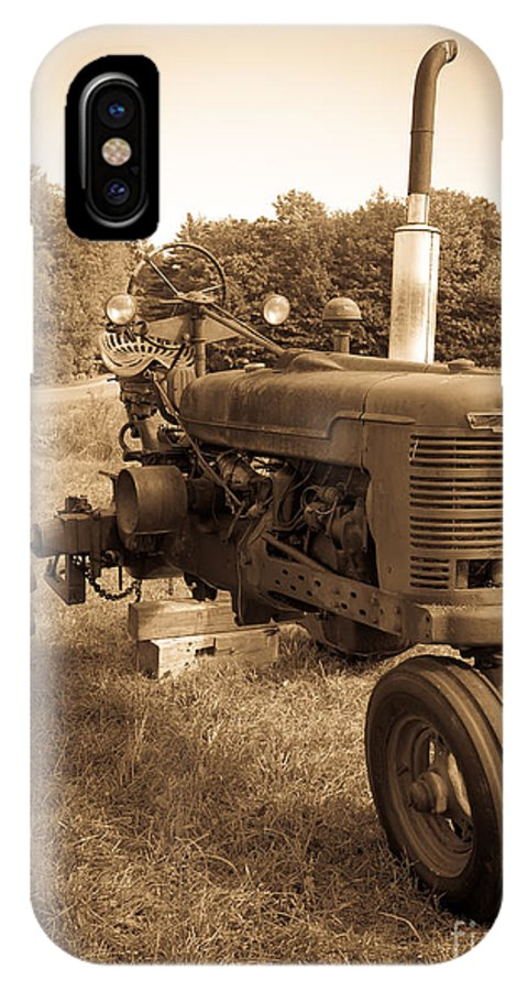 Sepia IPhone X Case featuring the photograph The Old Tractor Sepia by Edward Fielding