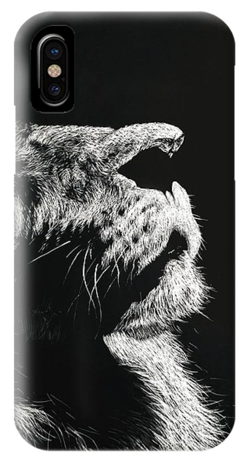 Lion IPhone X Case featuring the drawing The Once And Future King by Nathan Cole