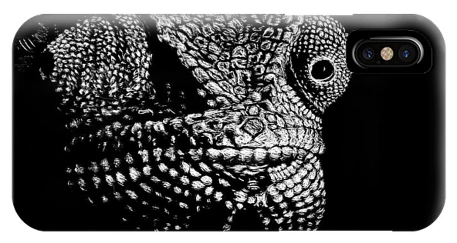 Chameleon IPhone X Case featuring the drawing The One Most Adaptable To Change by Nathan Cole