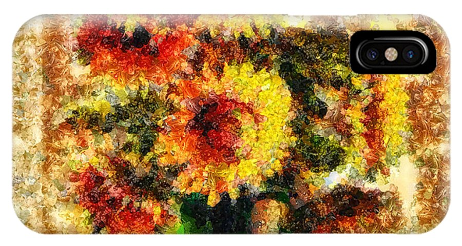 The Other Sunflowers IPhone X Case featuring the mixed media The Other Sunflowers by Mo T