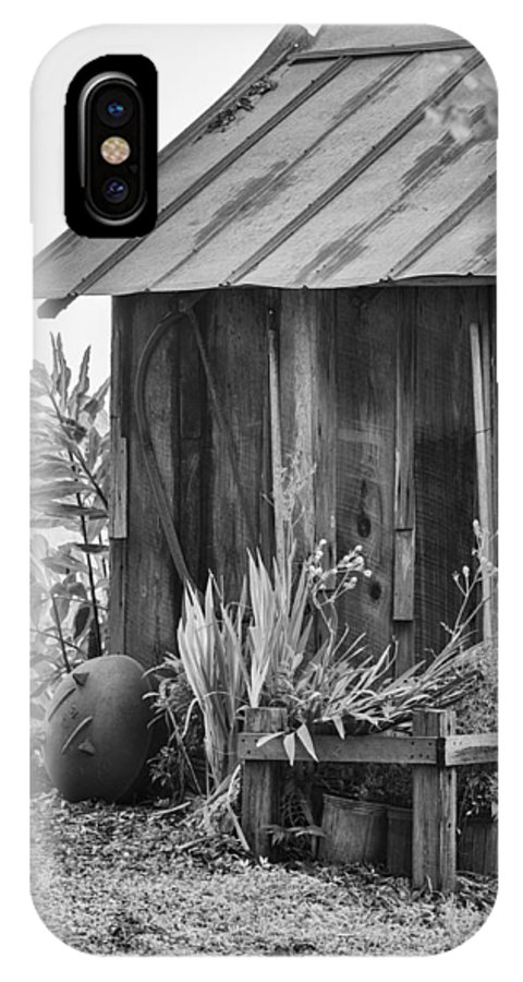 Outhouse IPhone X Case featuring the photograph The Outhouse Bw by Carolyn Marshall