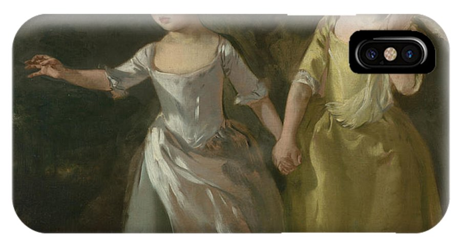Thomas Gainsborough IPhone X Case featuring the painting The Painter's Daughters Chasing A Butterfly by Thomas Gainsborough