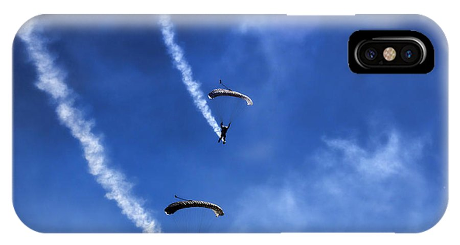 Parachutist IPhone X Case featuring the photograph The Parachutists V5 by Douglas Barnard