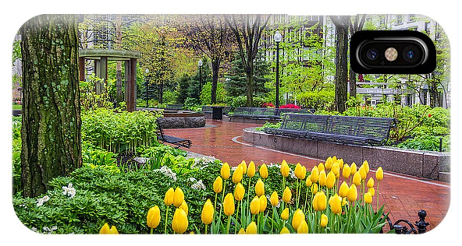America IPhone X Case featuring the photograph The Park At Post Office Square by Susan Cole Kelly
